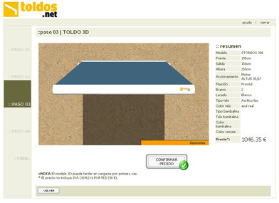 Configura tu toldo on-line