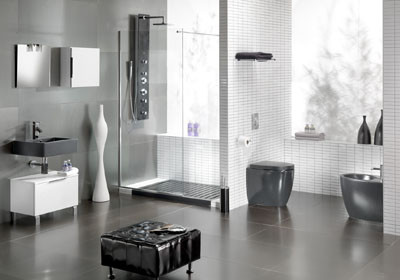 Elegant White Gray Bathroom Design